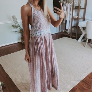 Free People Color Theory Plaid Maxi Halter Dress